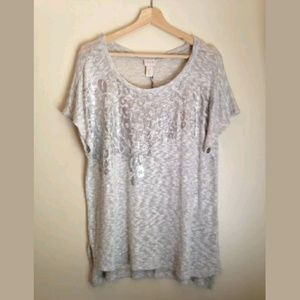 Chicos Shimmery Leopard Knit Sweater Sz 3 / XL